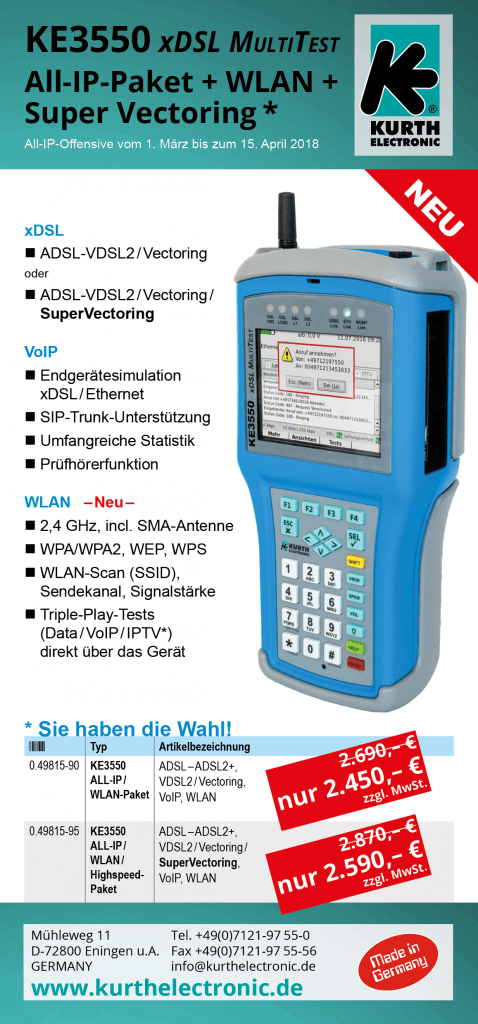 KE3550 xDSL MultiTest-Pakete All-IP-Offensive