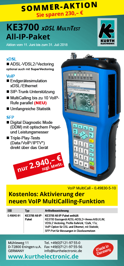KE3700 xDSL MultiTest-Pakete All-IP-Offensive