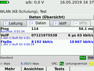 Wi-Fi function test with the KE3700 xDSL MultiTest