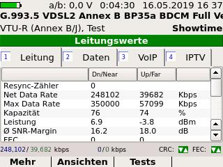 Screenshot xDSL-Messung